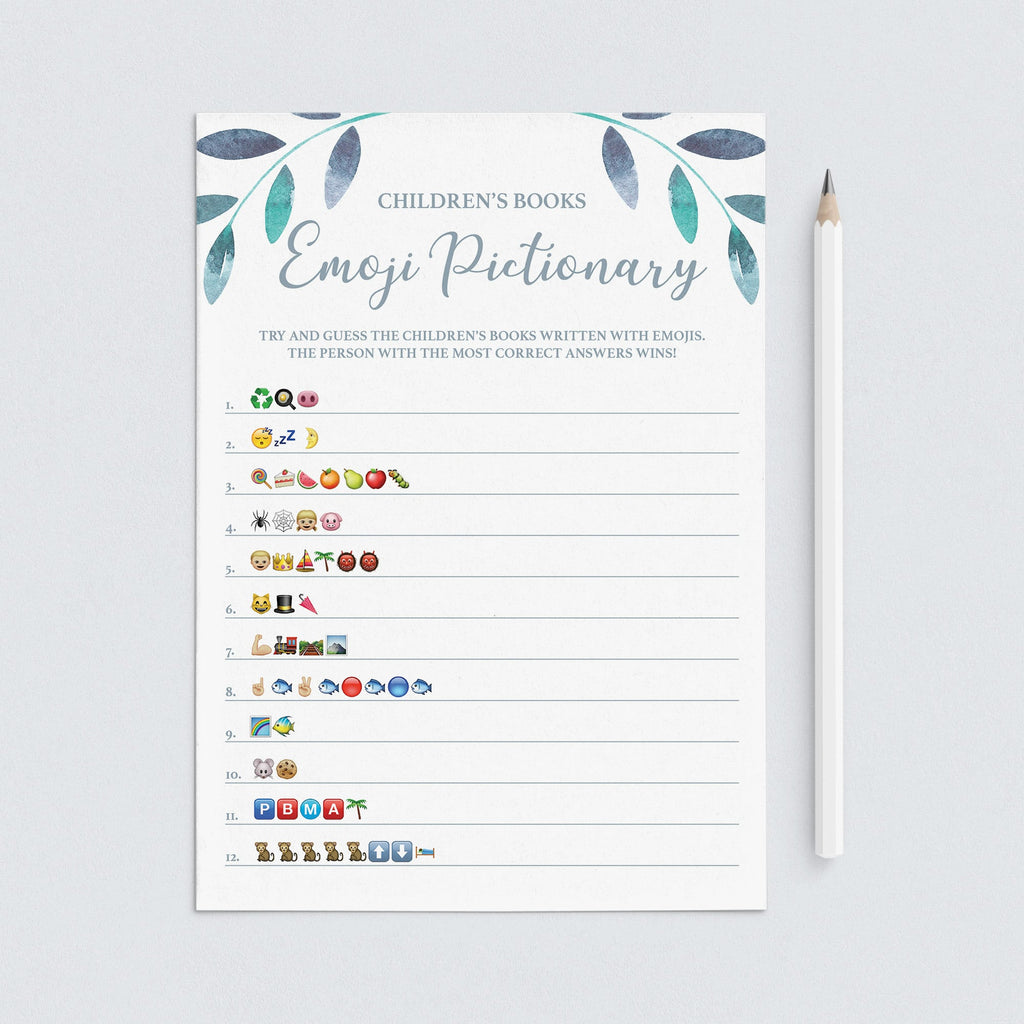 Leaf Baby Shower Emoji Pictionary Game Printable by LittleSizzle
