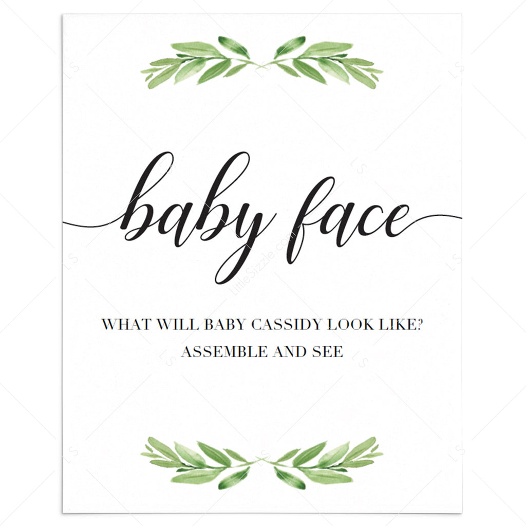 Greenery baby face sign for baby shower by LittleSizzle