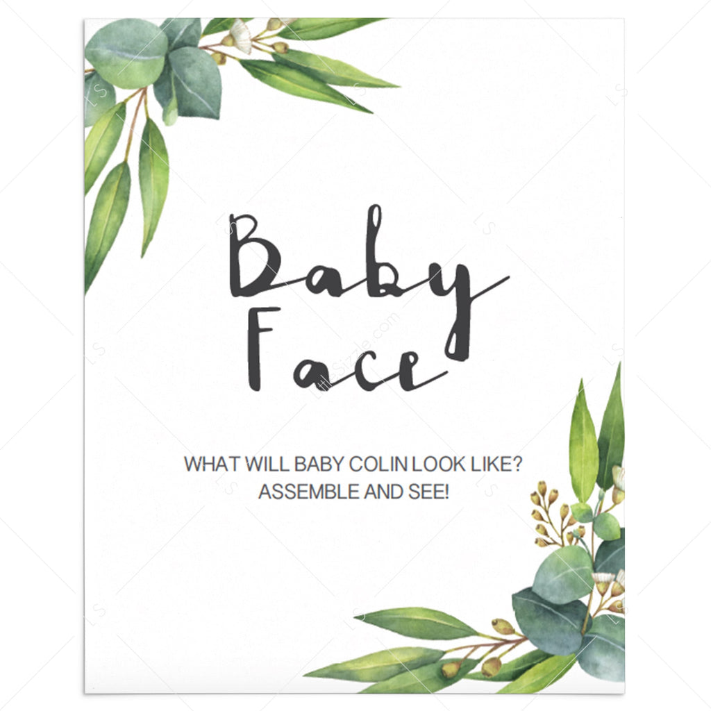 What will baby look like baby shower game greenery printable by LittleSizzle