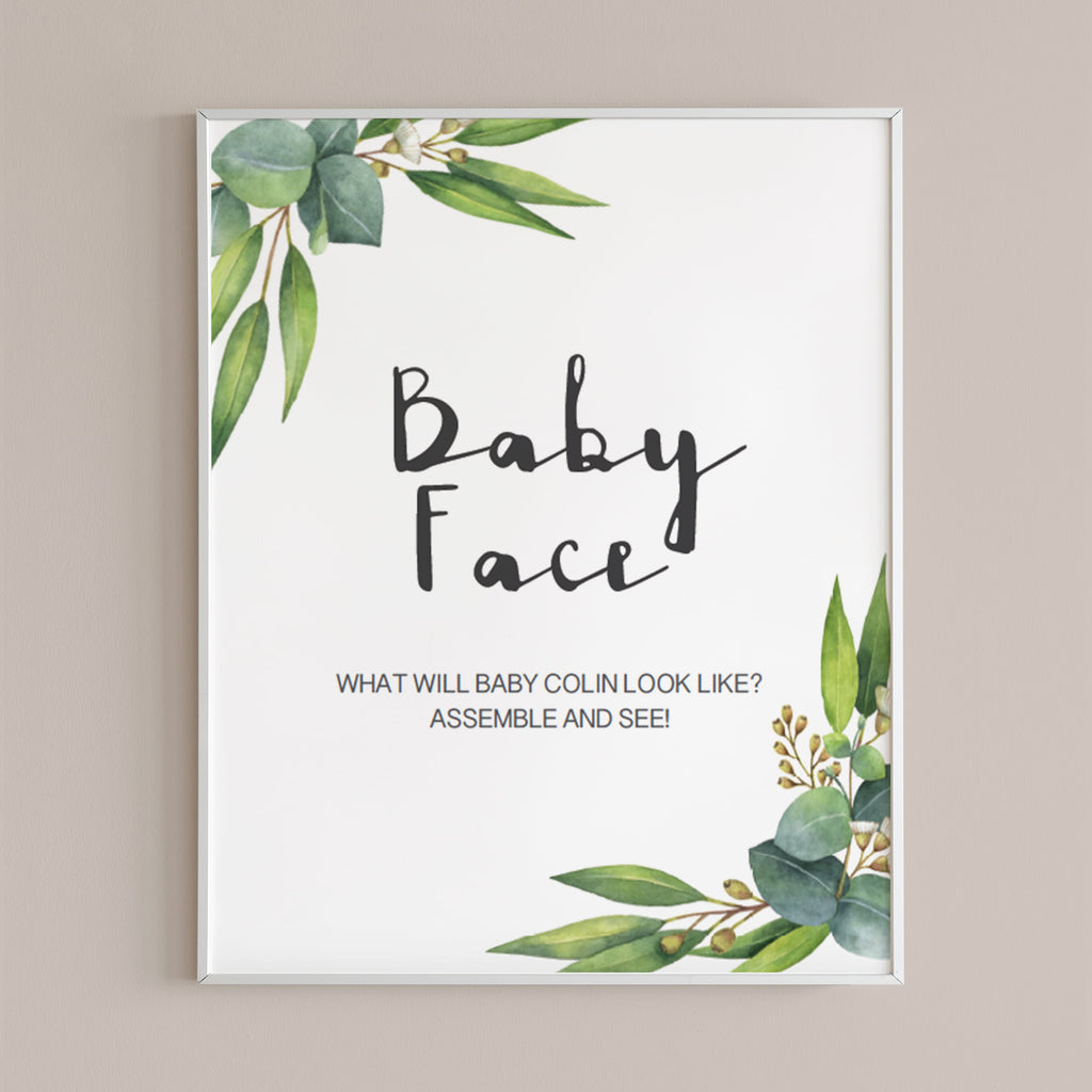 Printable guess the baby face game greenery themed  by LittleSizzle
