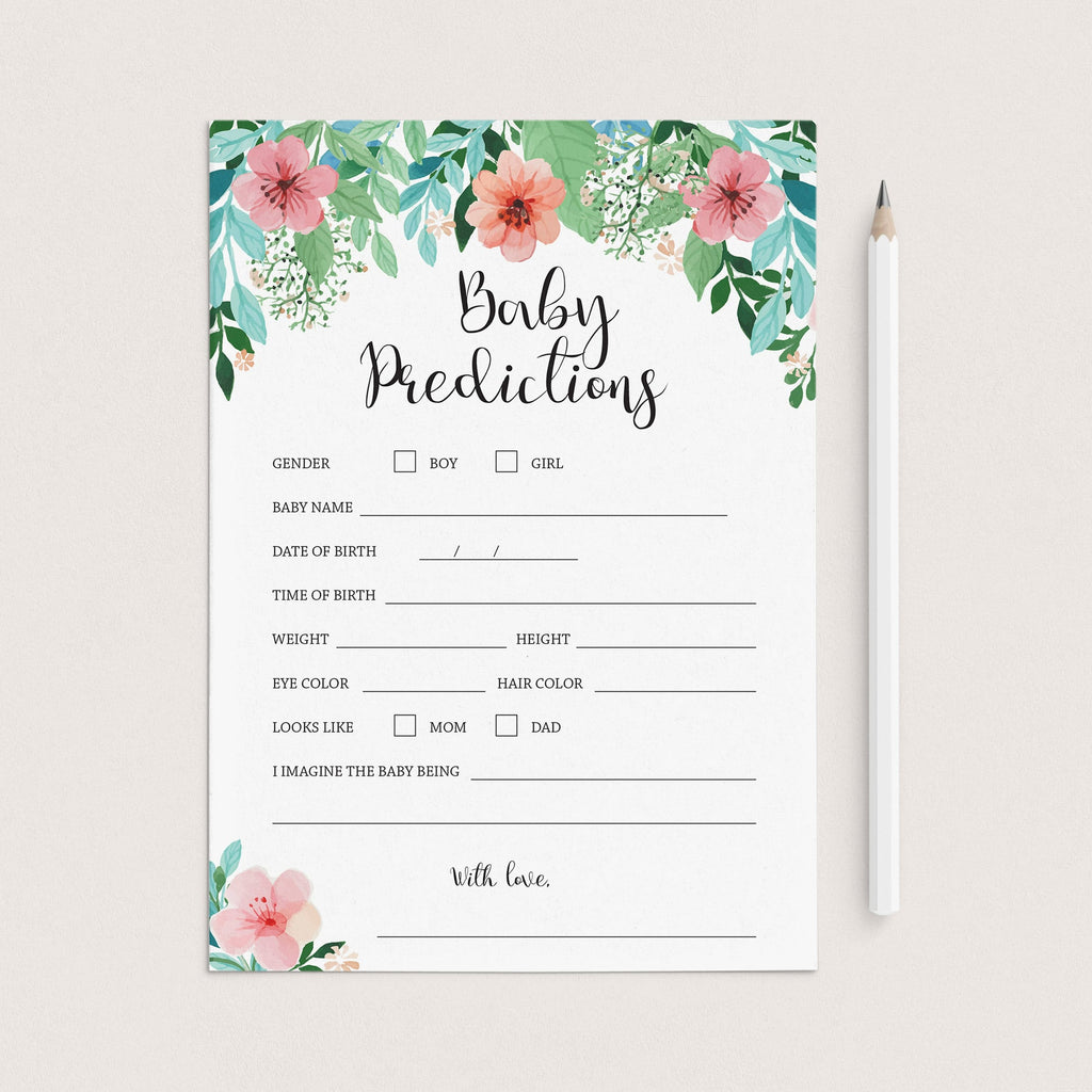 BABY SHOWER Game Baby Predictions and advice wishes for baby predictions for baby floral baby shower floral baby card baby wishes