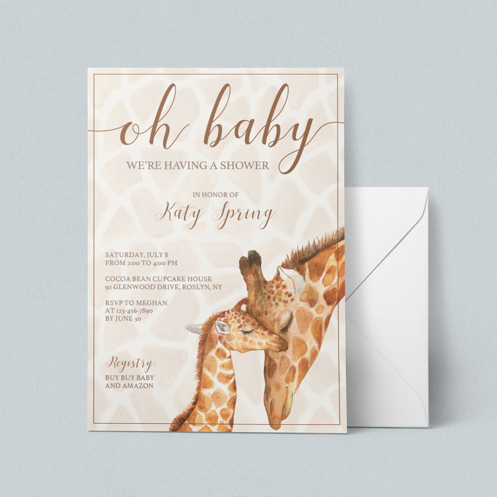 Safari animals giraffe baby shower invitation printable by LittleSizzle