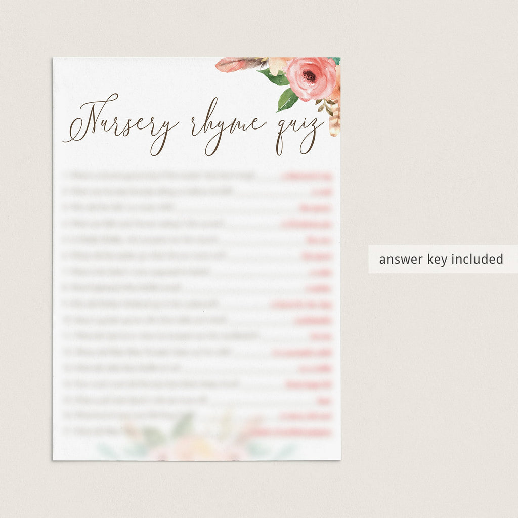 Watercolor Flowers Baby Shower Nursery Rhyme Quiz Printable