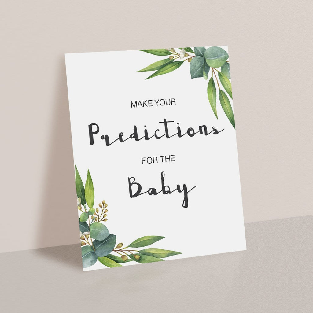 Printable Baby Shower Predictions Game Table Sign Greenery