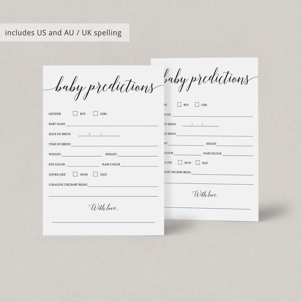 Predictions for baby game printable by LittleSizzle