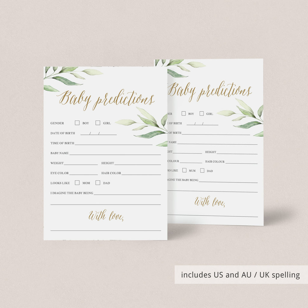 Botanical Leaves Baby Prediction Card DIY Printable