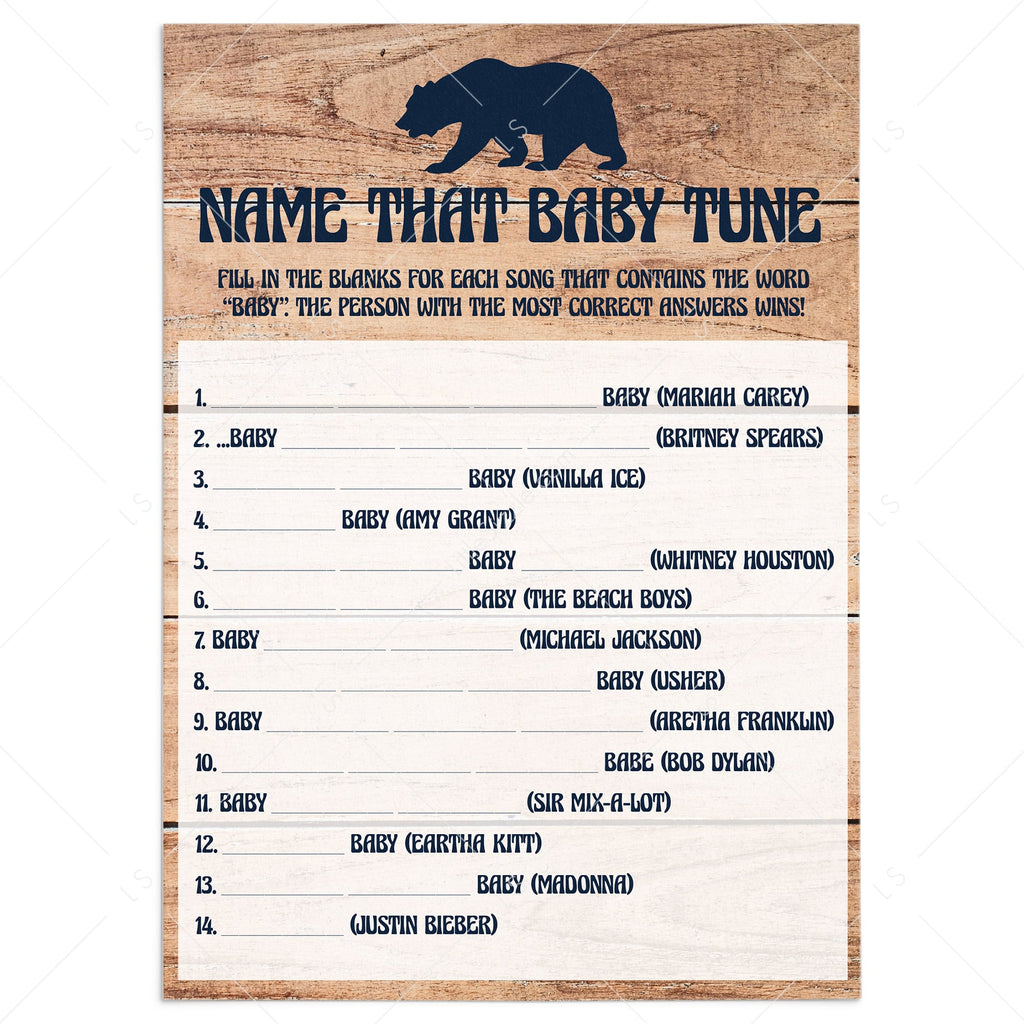 Name That Baby Tune baby shower game printable by LittleSizzle