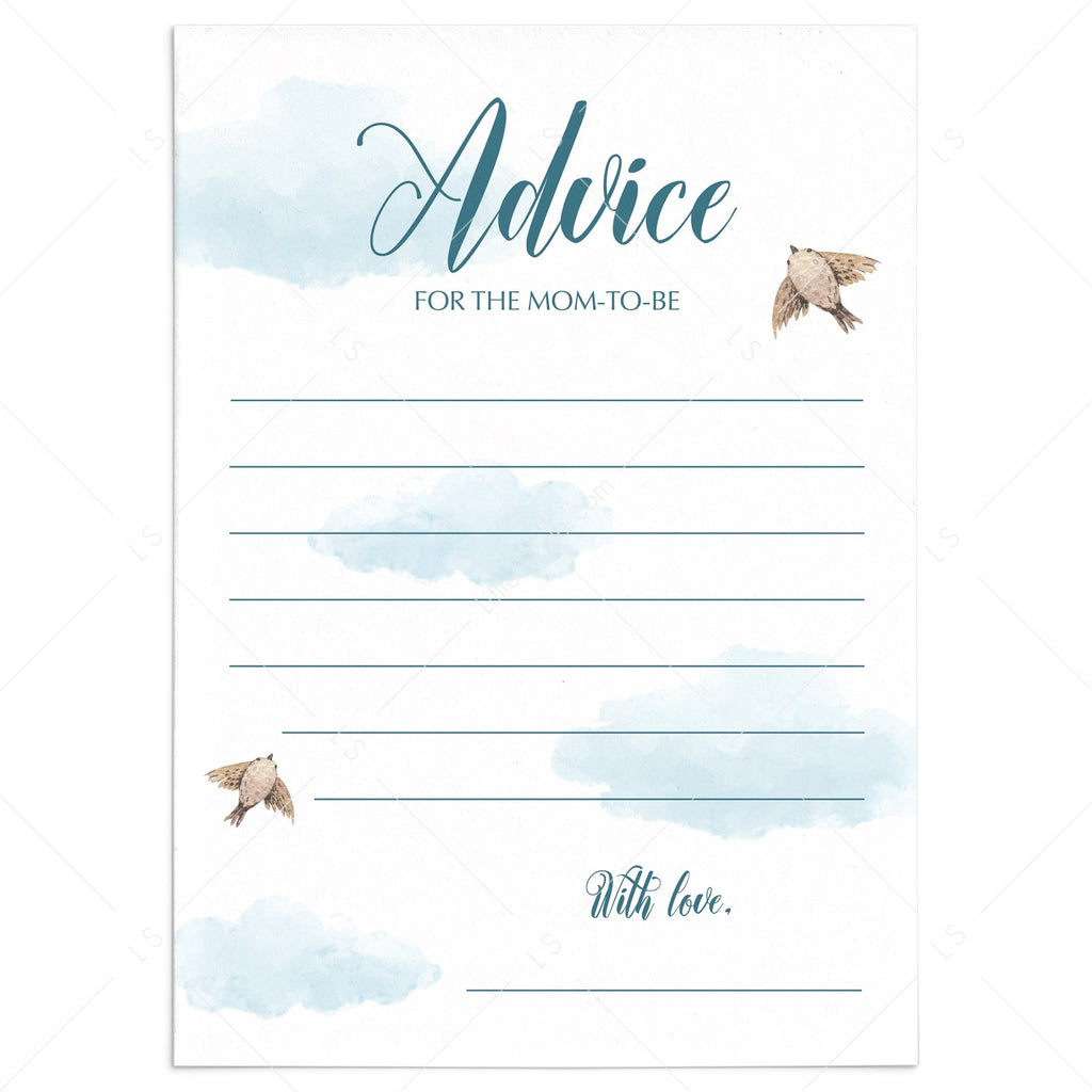 Cloud Baby Shower Advice Cards For Mom To Be Printable Littlesizzle