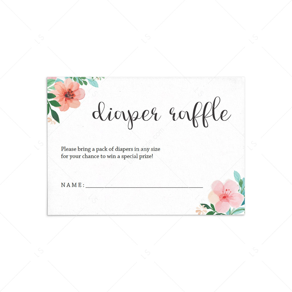 Floral Baby Shower Diaper Raffle Ticket by LittleSizzle