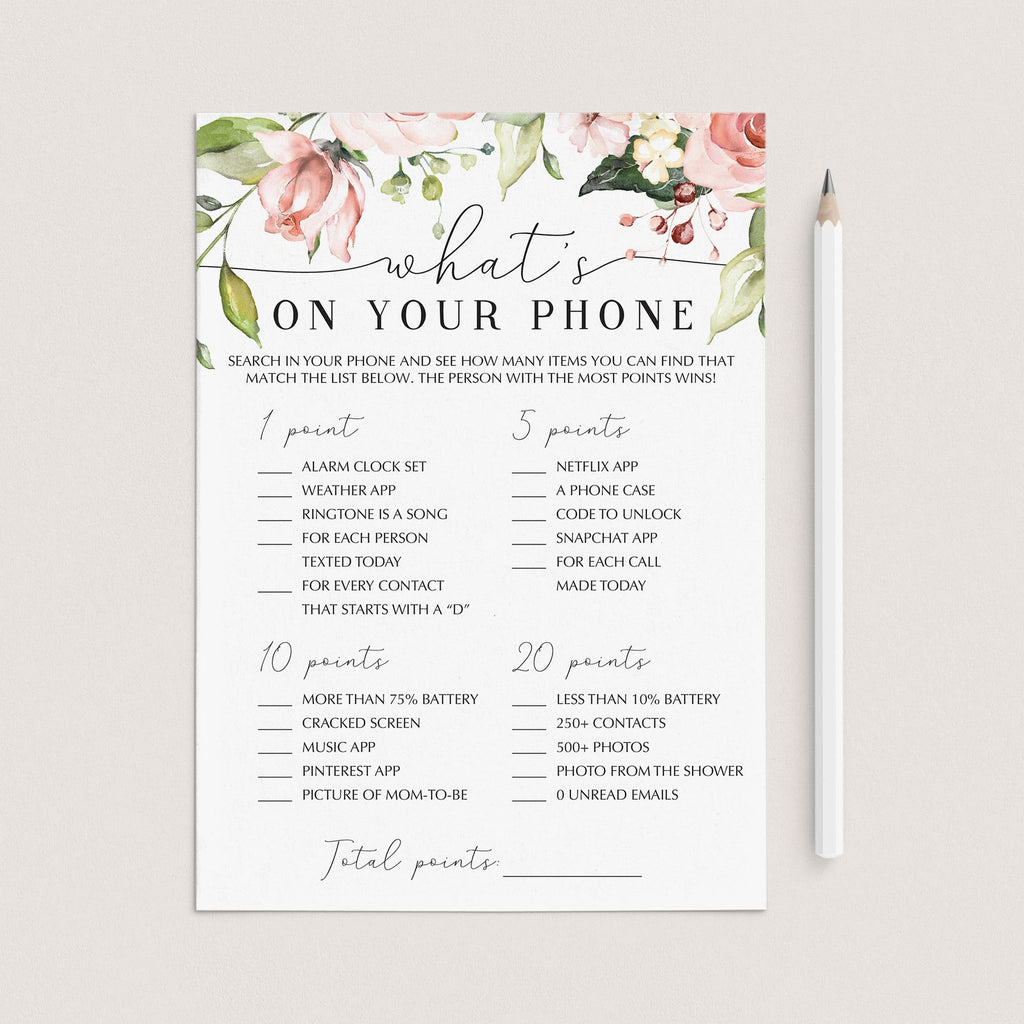 Blush floral what's on your phone baby shower games by LittleSizzle