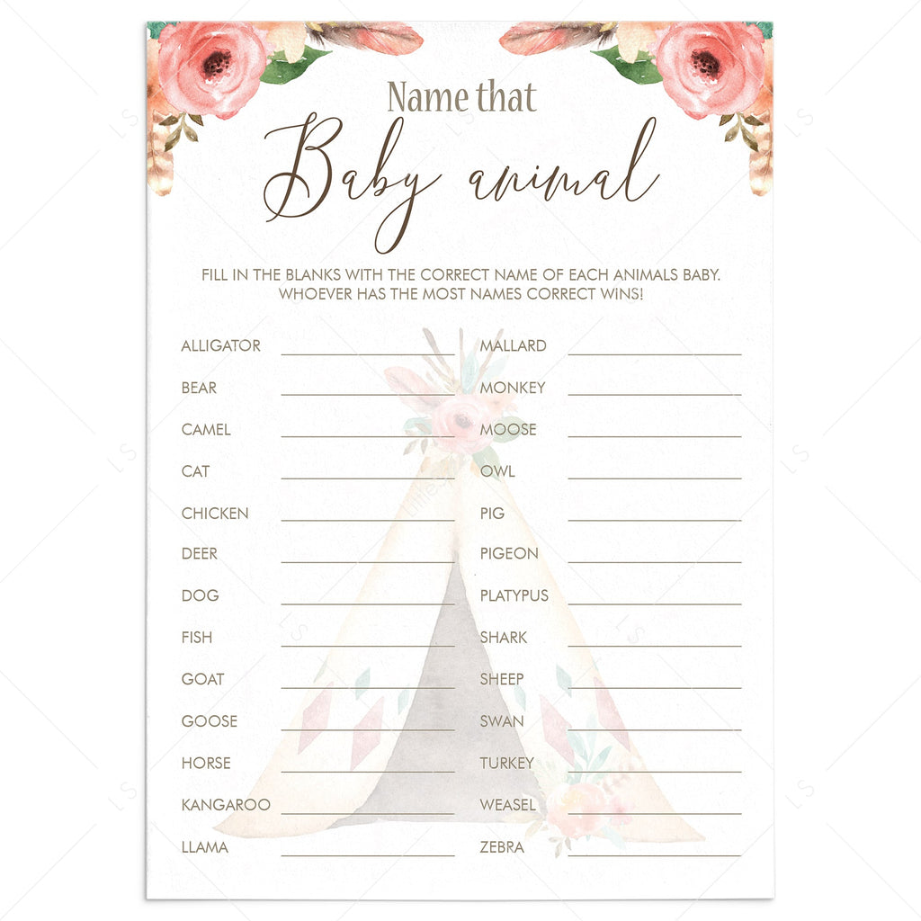 Name That Baby Animal Shower Game Printable Floral Teepee by LittleSizzle