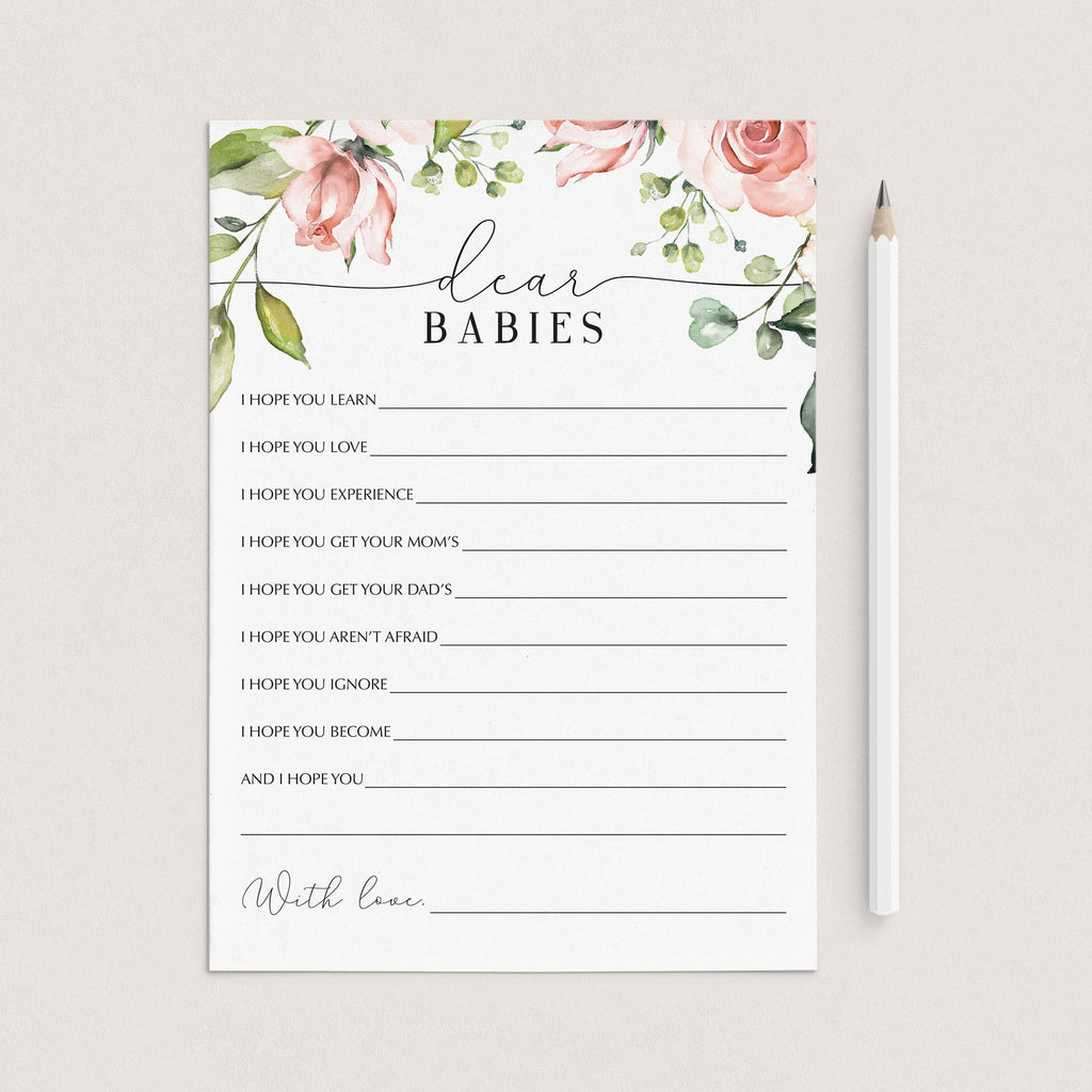 Twins babyparty games dear babies cards by LittleSizzle