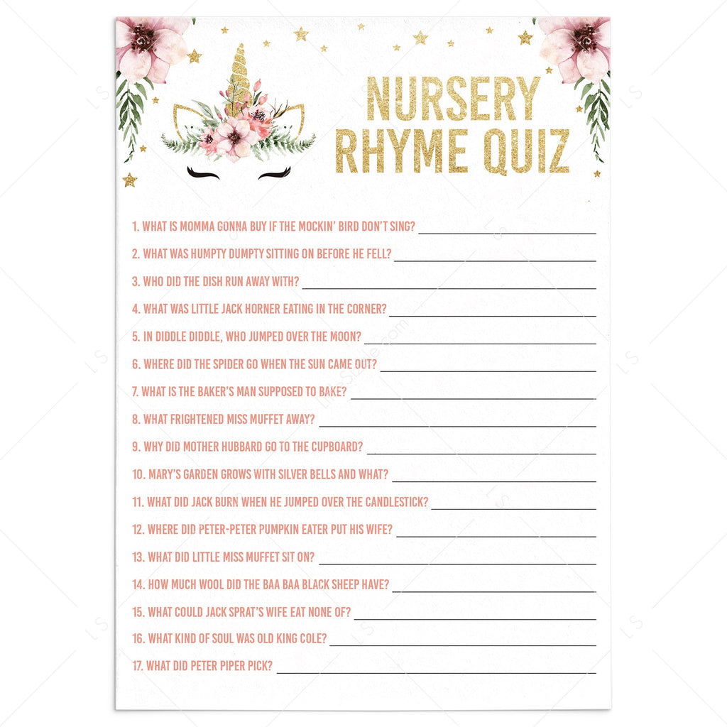 Unicorn baby shower nursery rhymes game printable by LittleSizzle