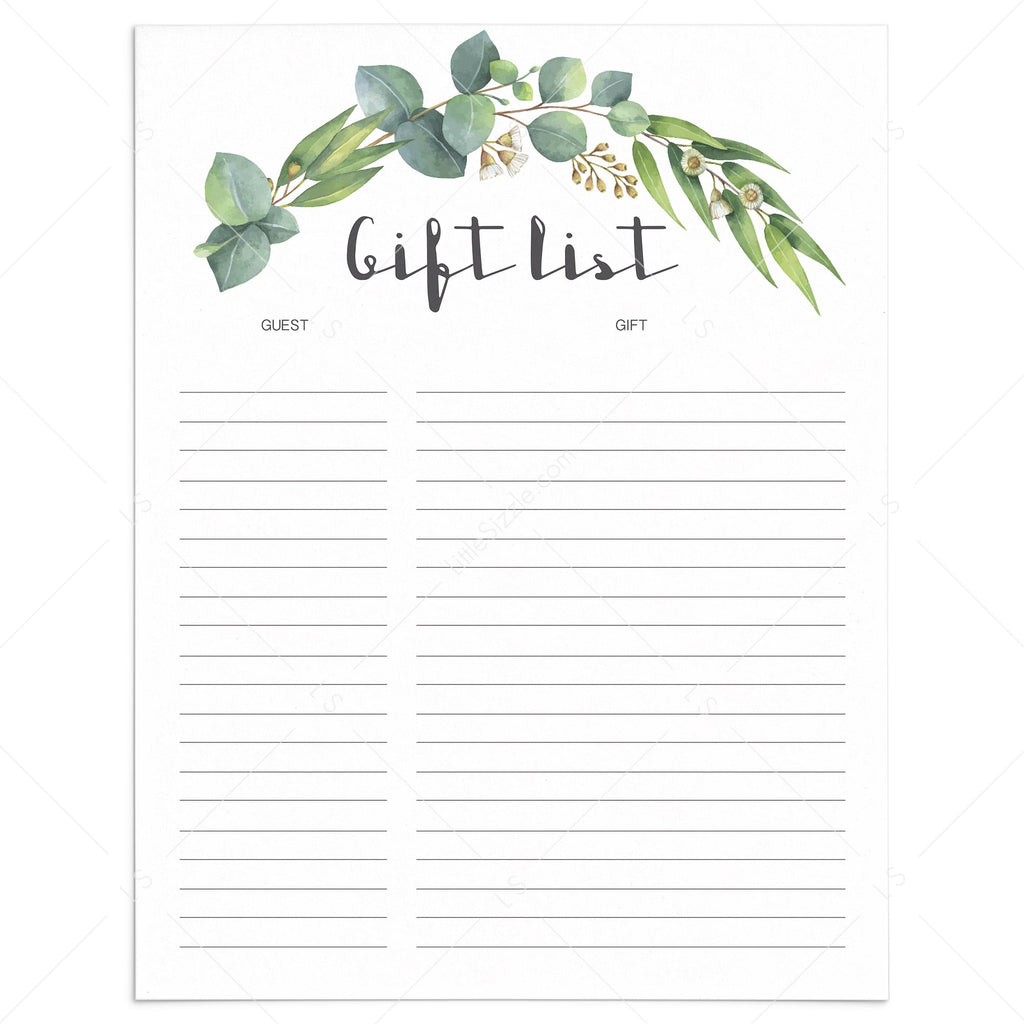Printable gift tracker with watercolor green leaves by LittleSizzle