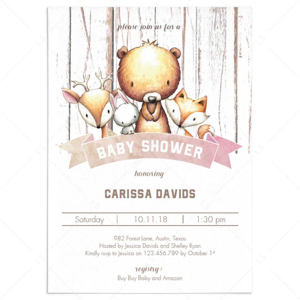 Forest animals baby shower invitation template DIY by LittleSizzle
