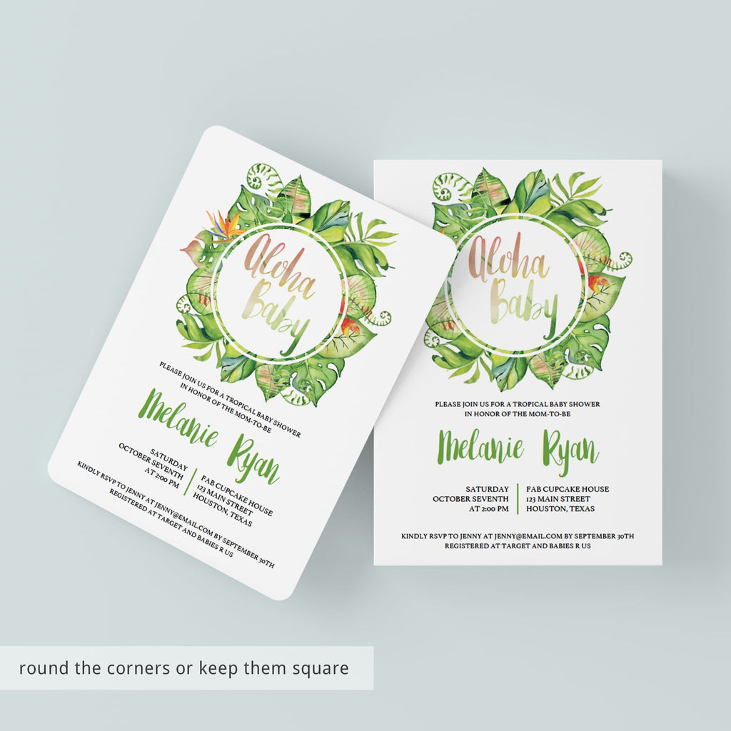 Neutral Baby Shower Invitation Template - Tropical