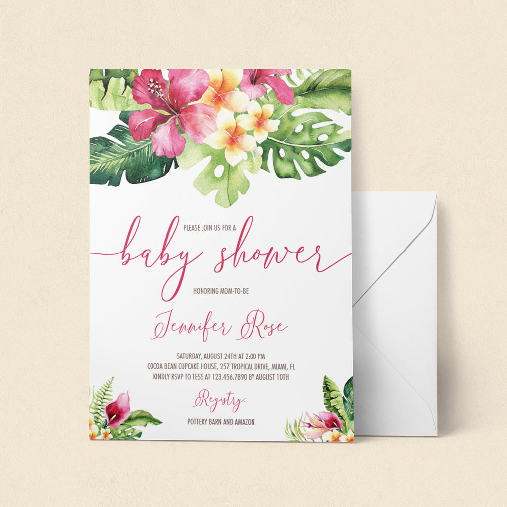 Tropical Baby Shower Invitation PDF Template
