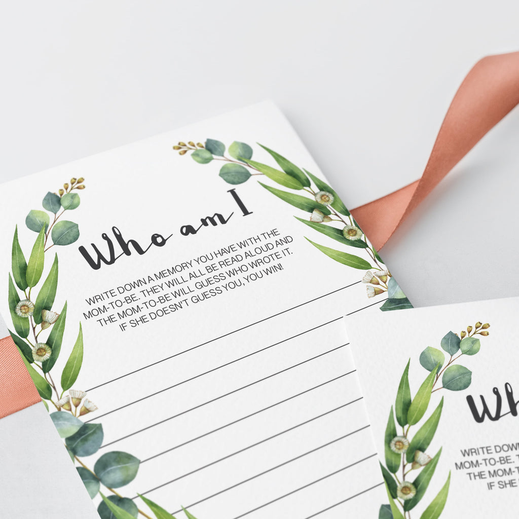 Who am I game for baby shower printable green leaves by LittleSizzle
