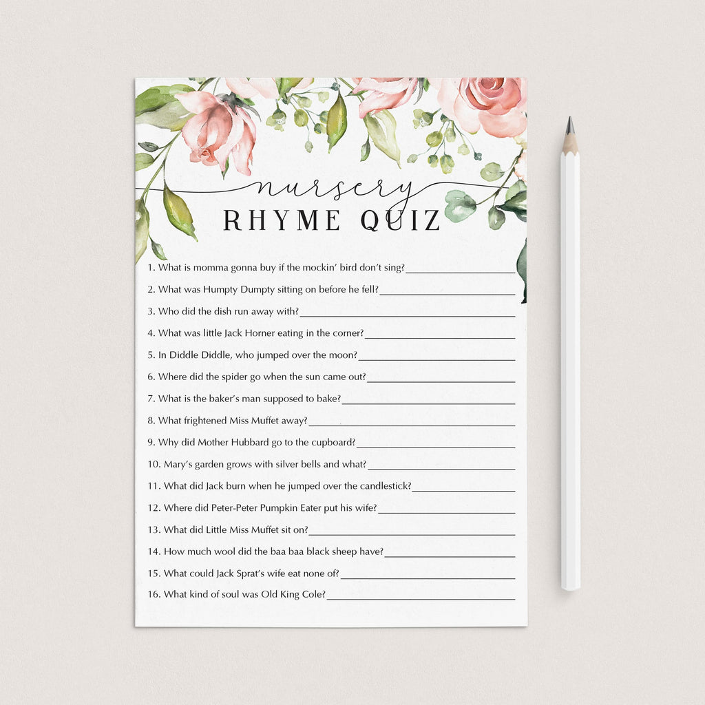 Winter Nursery Rhyme Quiz Game for Baby Shower Girl Instant Download Nursery Rhyme Game Printable with Snowflake Pink Gray sp2