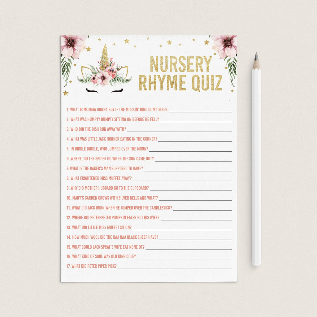 Girl baby shower games nursery rhymes instant download by LittleSizzle