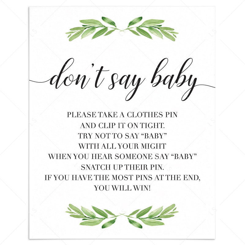 Printable Baby Shower Don T Say Baby Game Signs Instant Download Littlesizzle