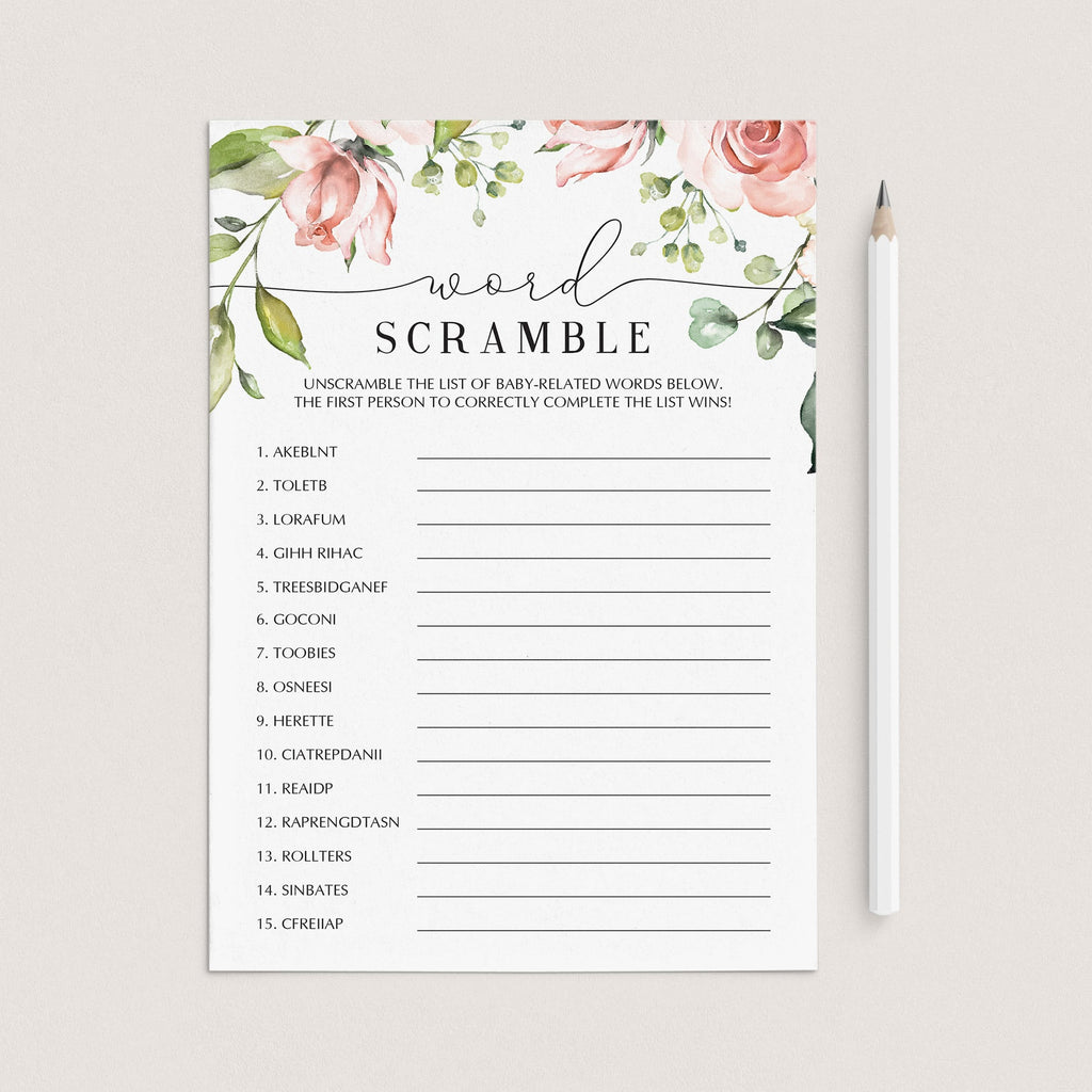 Printable baby shower game word scramble garden theme by LittleSizzle