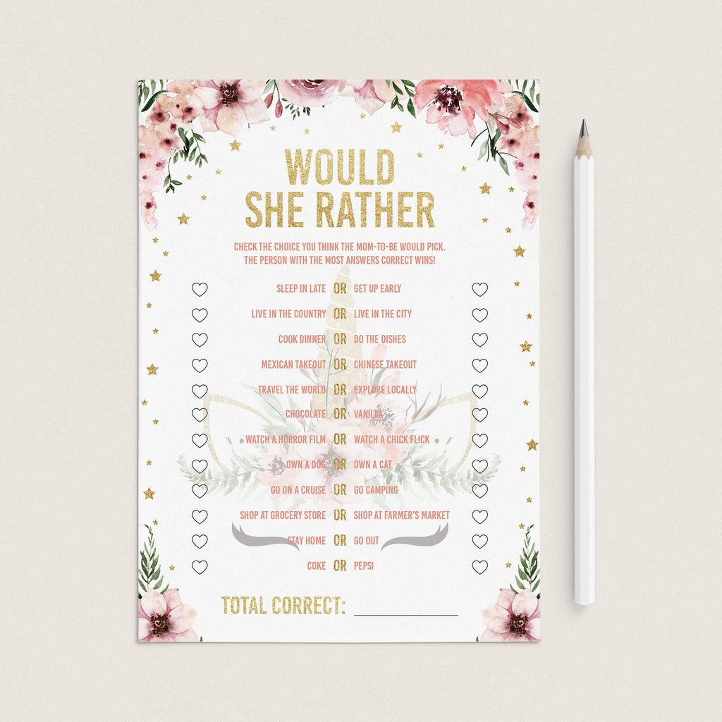 Baby shower would she rather printable game unicorn theme by LittleSizzle