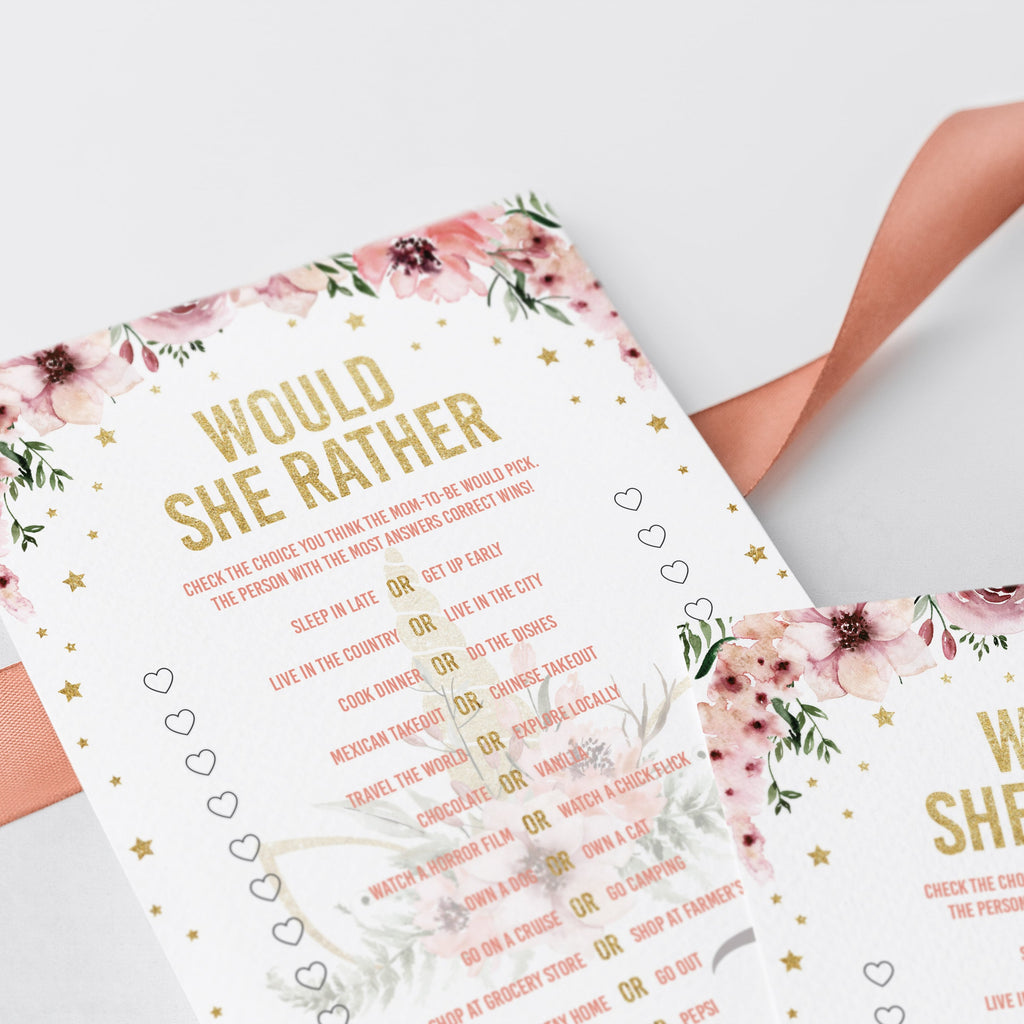Gold baby shower games would she rather instant download by LittleSizzle