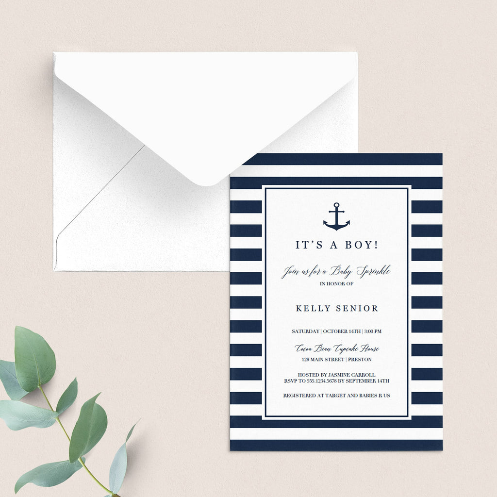Nautical baby sprinkle invite for boy printable by LittleSizzle
