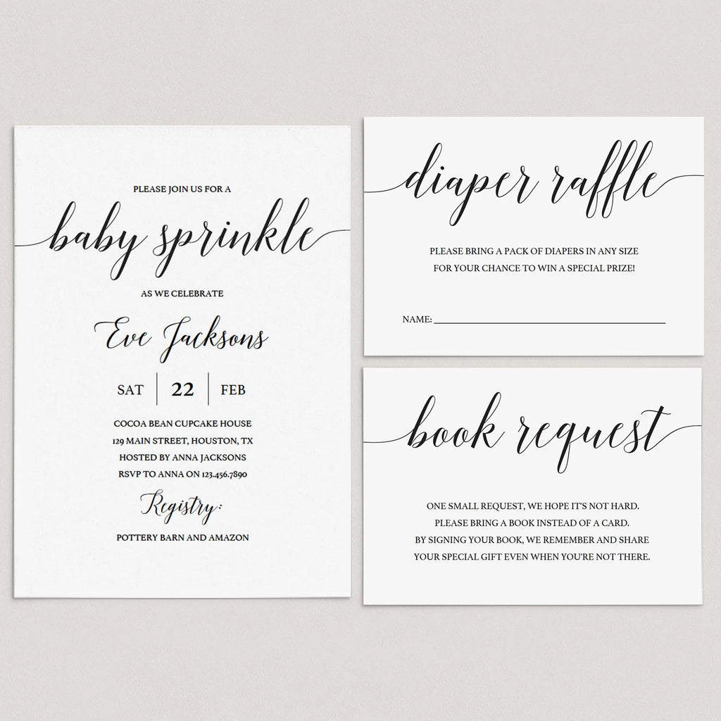 Printable Baby Sprinkle Invitation Set with Calligraphy Font by LittleSizzle