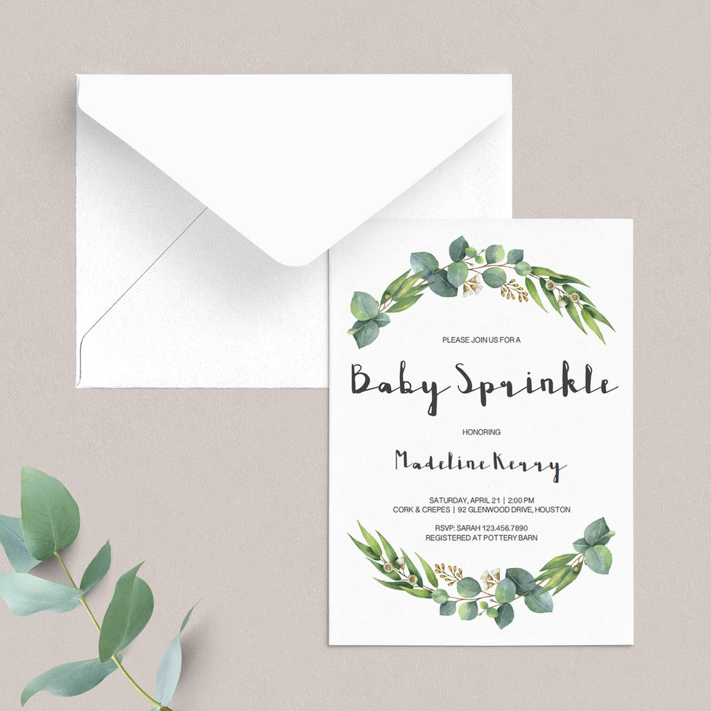 Garden Baby Sprinkle Invitation Set Instant Download