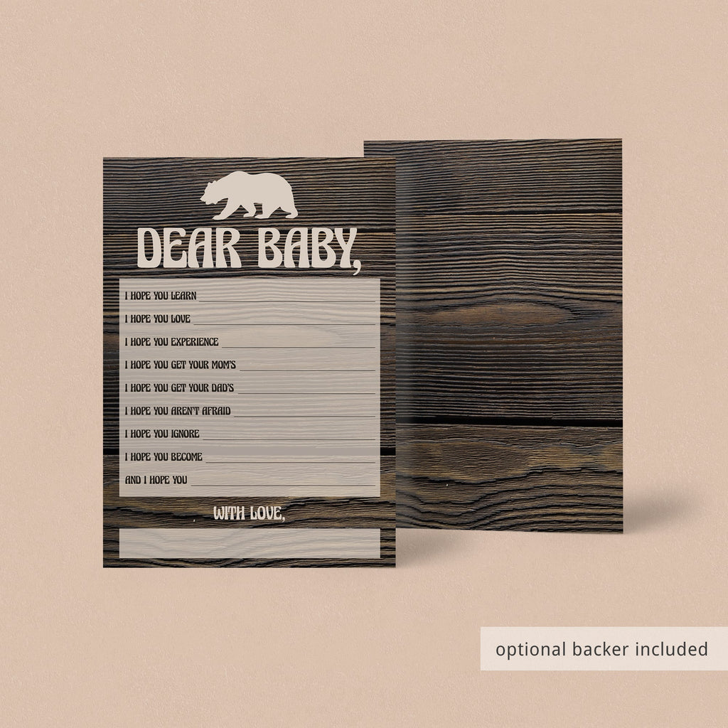 Brown bear and wood background printable baby shower games by LittleSizzle