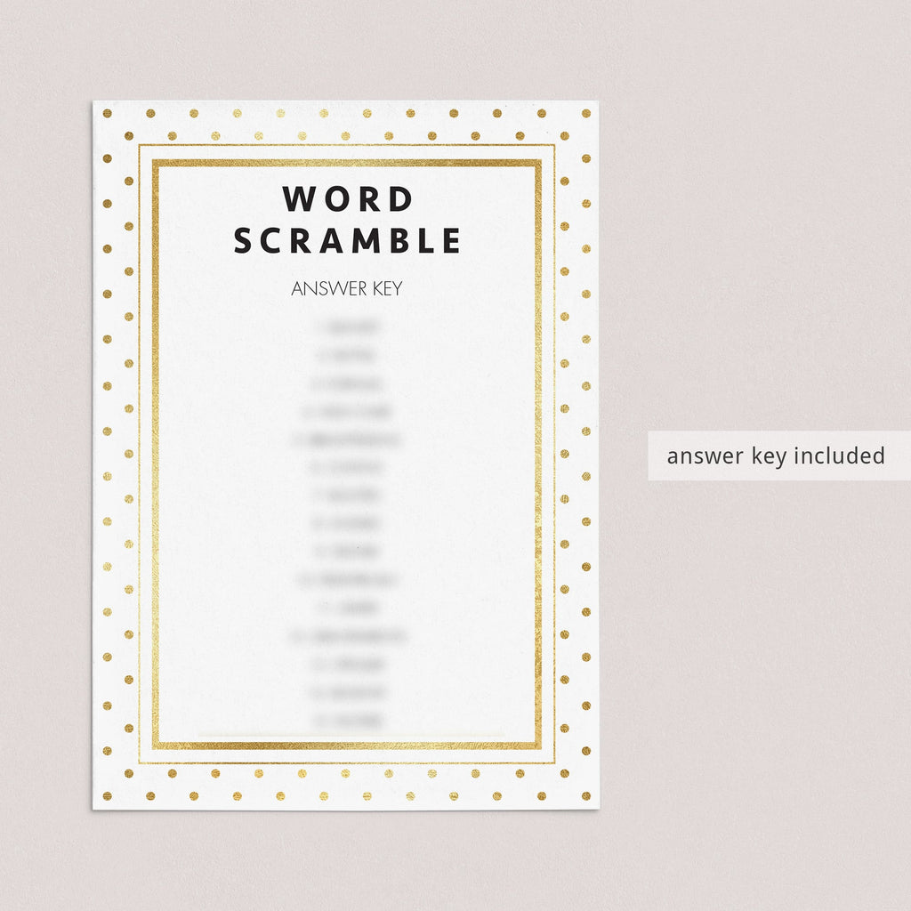 Printable answer key for baby word scramble by LittleSizzle