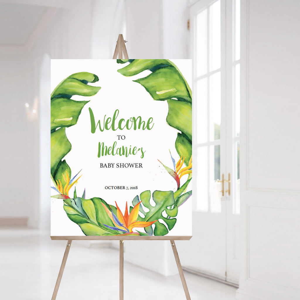 Banana Leaf baby shower welcome sign printable by LittleSizzle