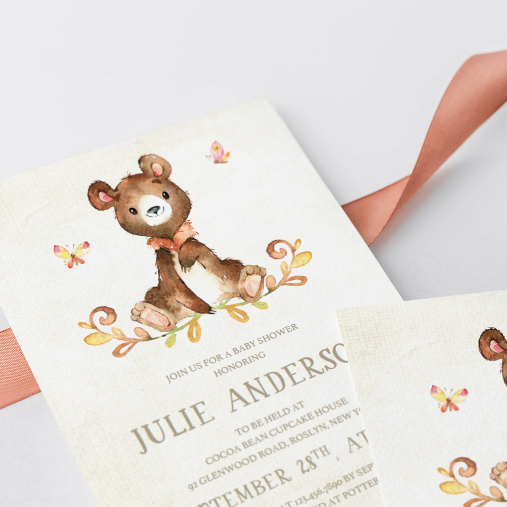 Teddy bear baby shower invitation by LittleSizzle