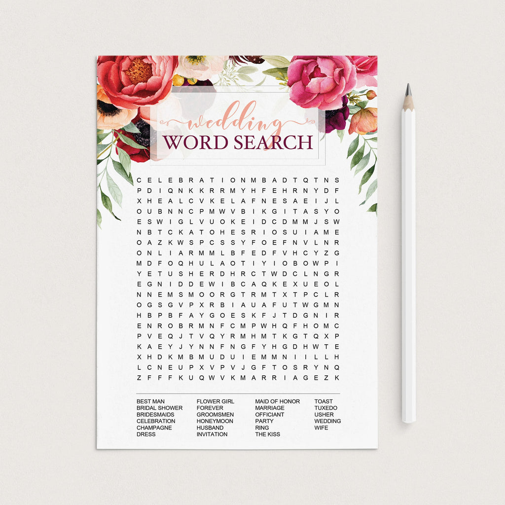 Red floral bridal shower game template by LittleSizzle