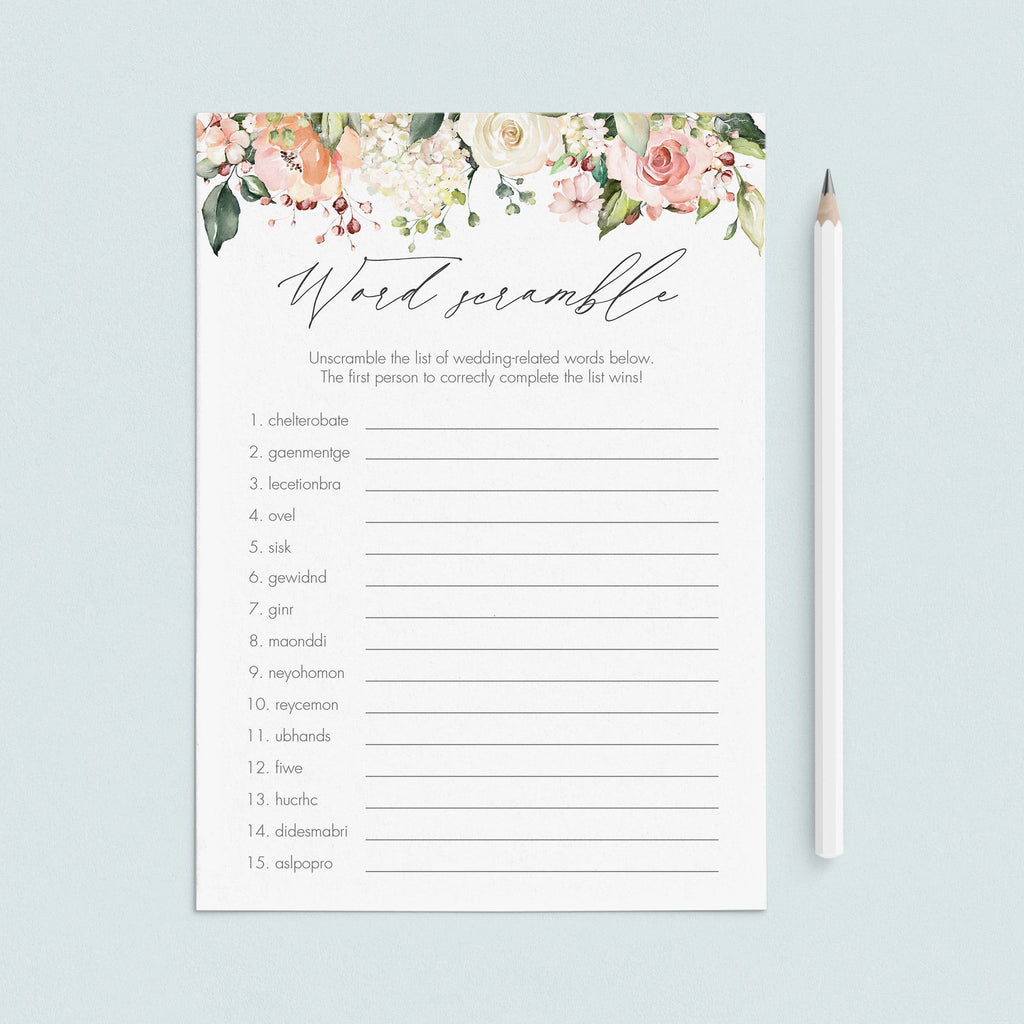 floral word scramble bridal shower game with answers