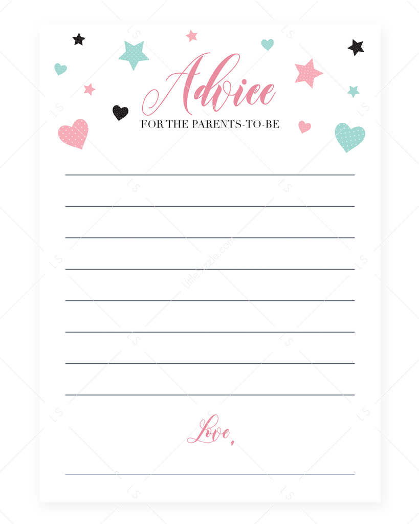 Baby advice for parents printable girl shower by LittleSizzle