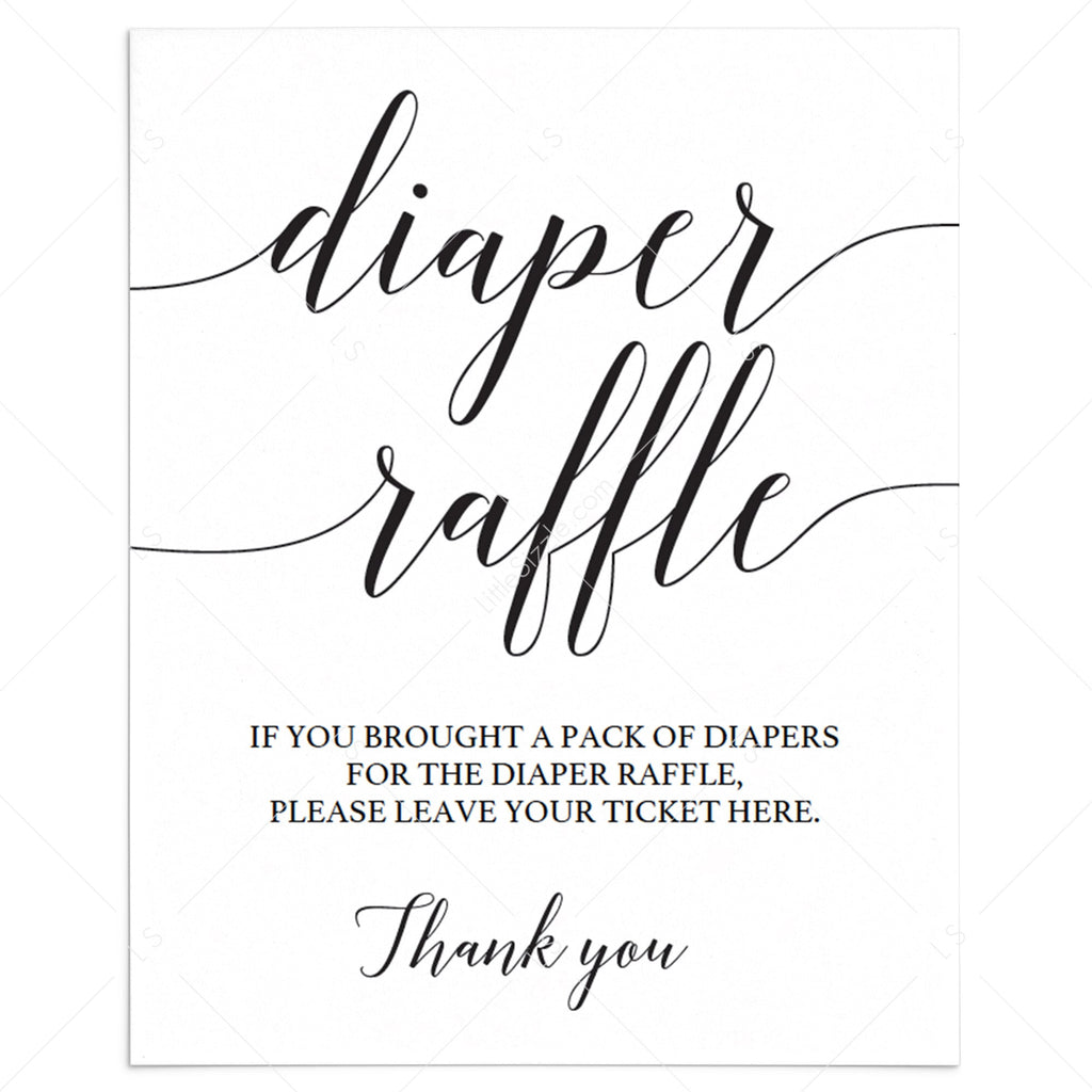 Simple diaper raffle sign template by LittleSizzle
