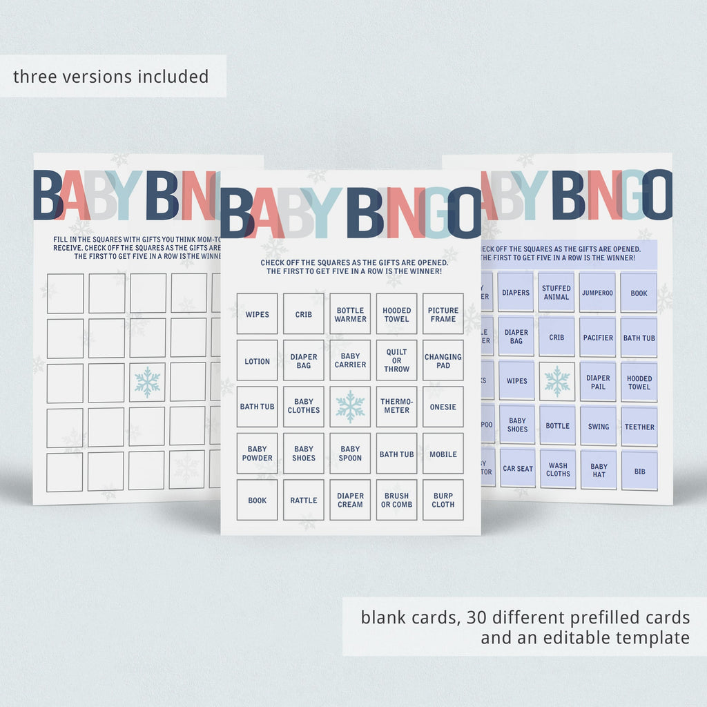 Printable winter baby shower games bingo by LittleSizzle