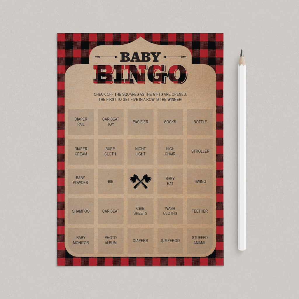 Rustic baby shower baby bingo cards blank and prefilled by LittleSizzle