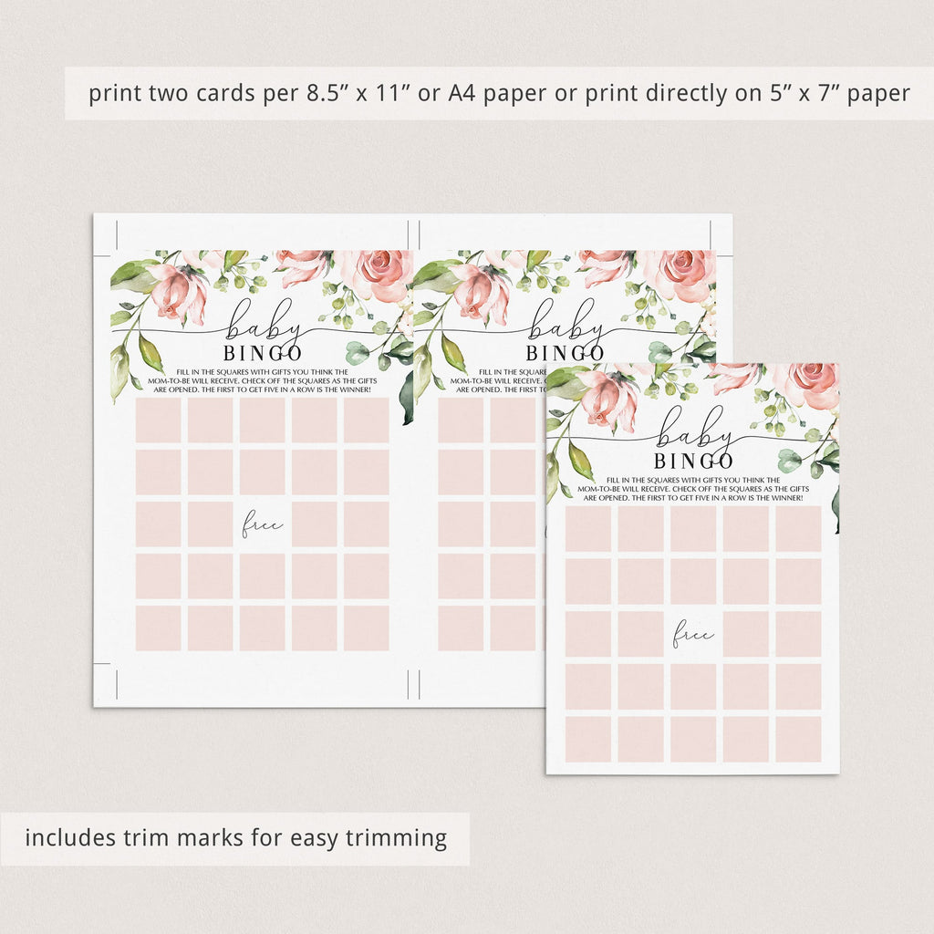 Blush Floral Baby Bingo Cards Prefilled, Blank and Game Template