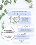 Editable invitation templates for elephant themed baby shower by LittleSizzle