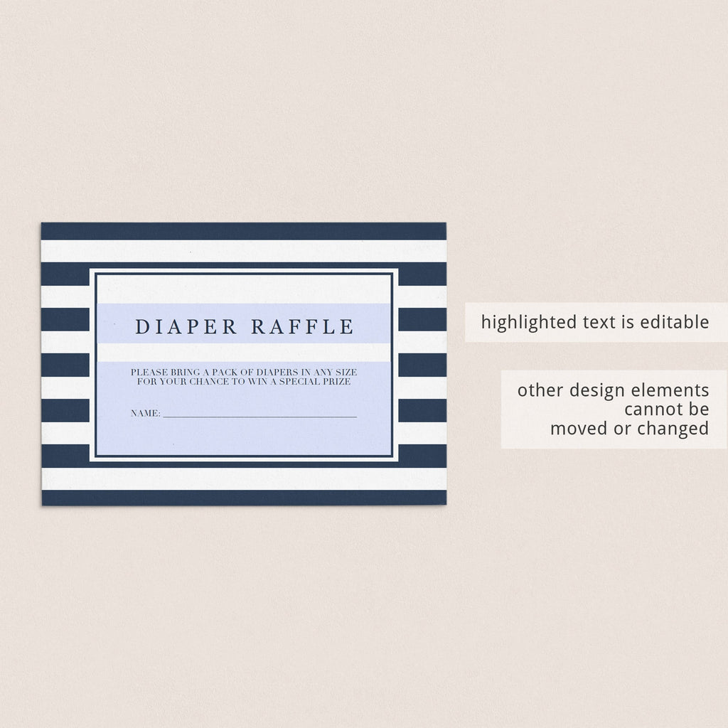 Editable Diaper Raffle Tickets for boy baby shower by LittleSizzle