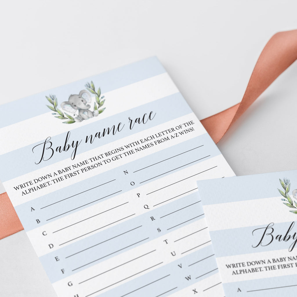Watercolor elephant baby shower games printable by LittleSizzle