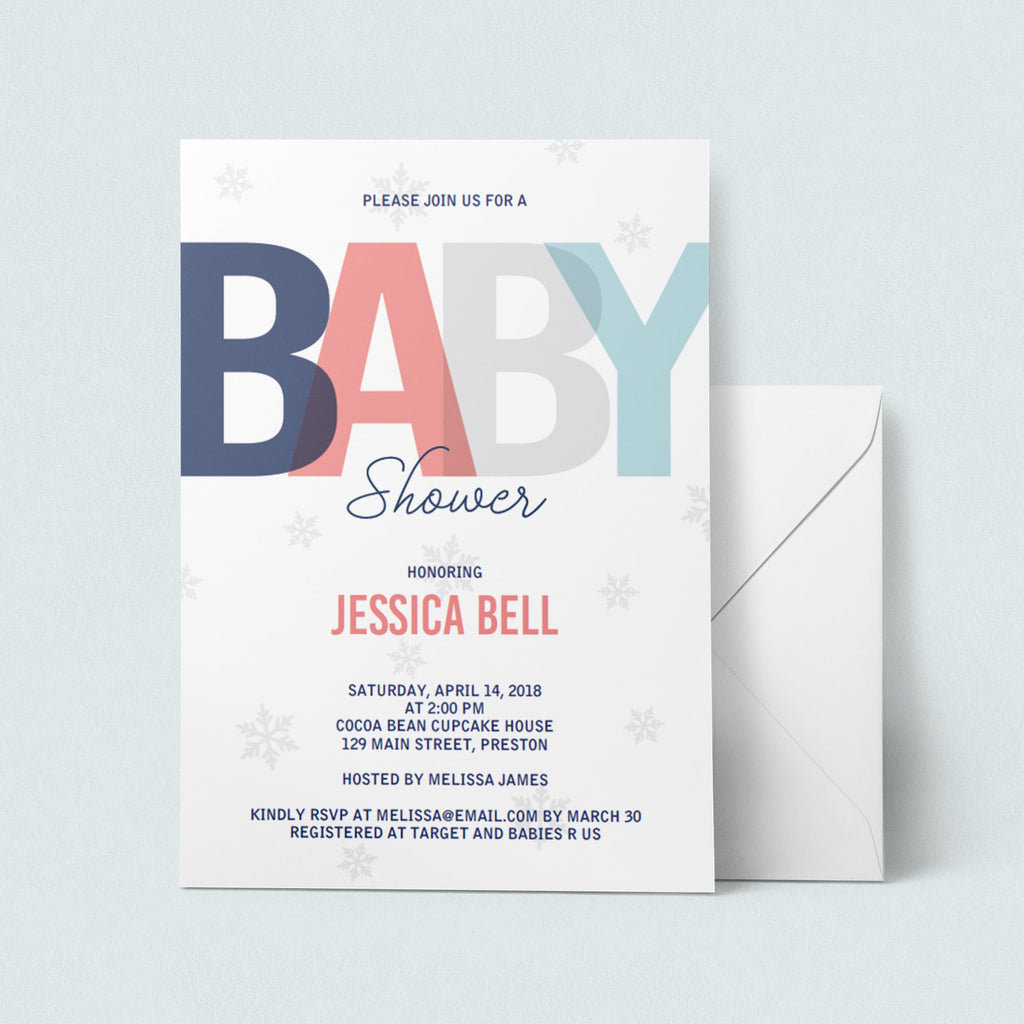 Invitation template for winter baby shower by LittleSizzle