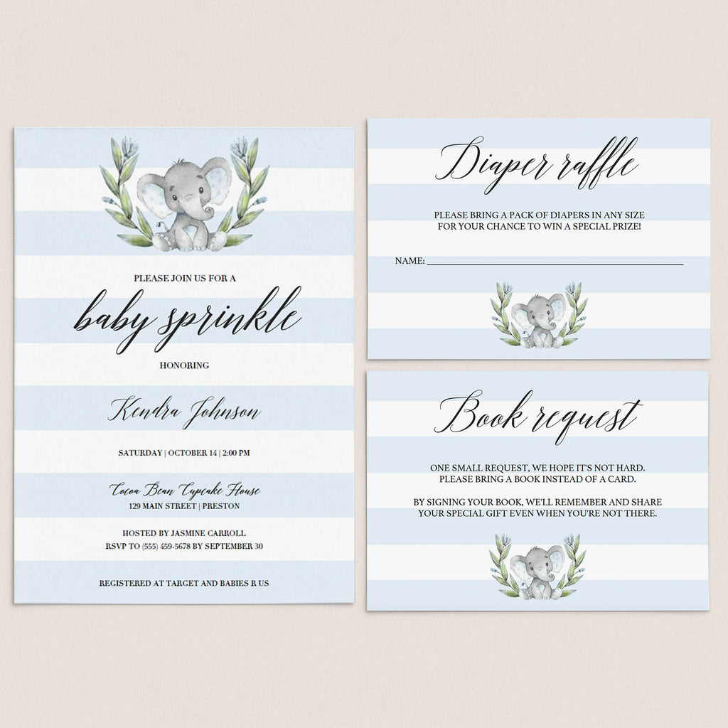 Blue baby sprinkle invitation set templates by LittleSizzle