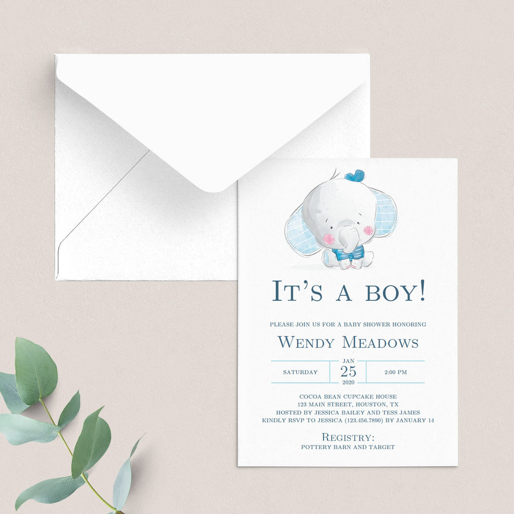 Boy Elephant Baby Shower Invitation Template Download
