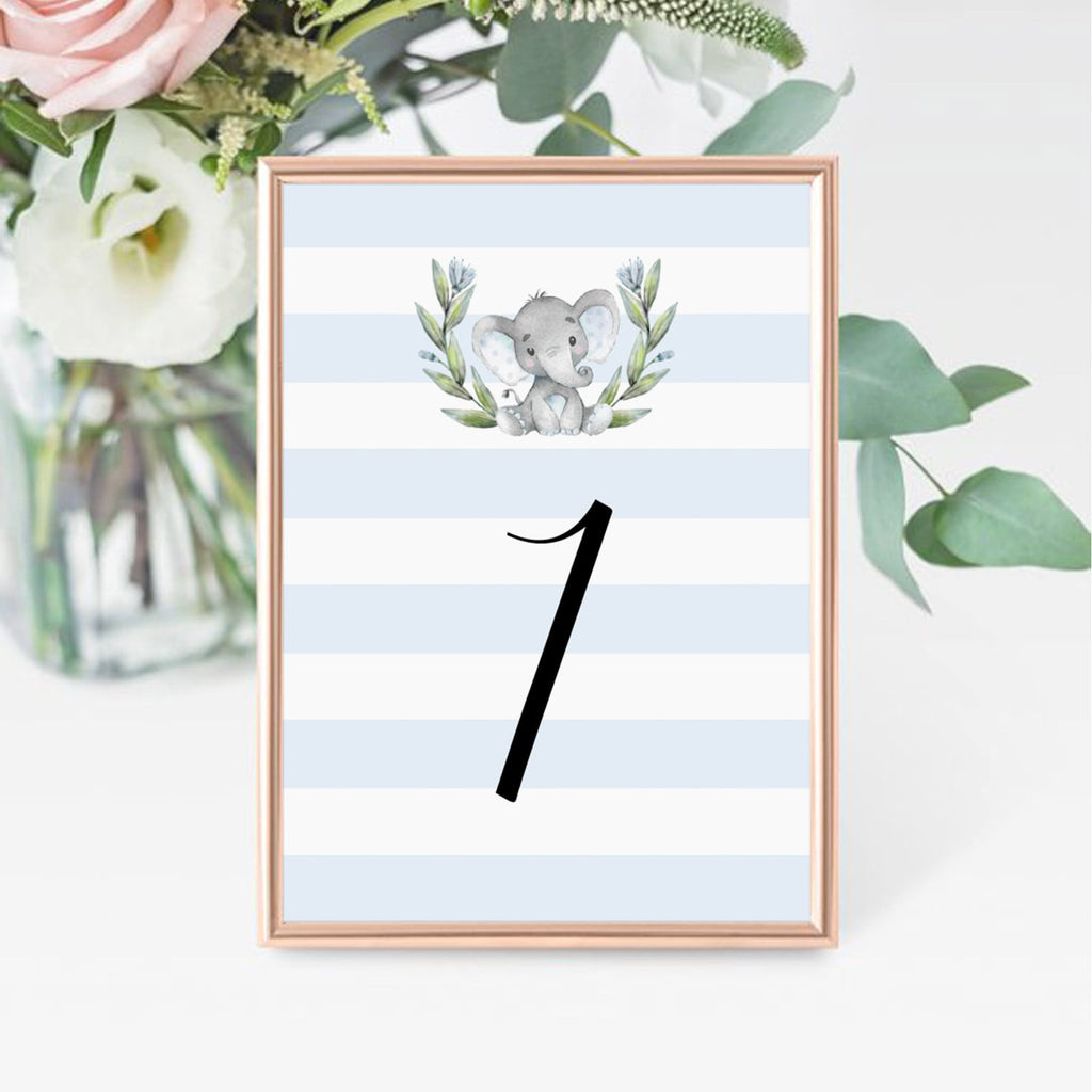 Printable table number cards for elephant party by LittleSizzle