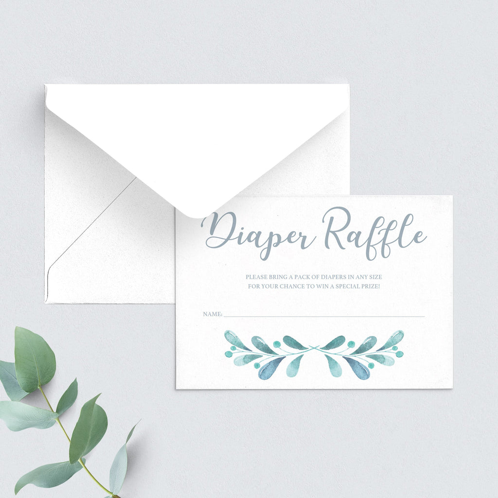 Blue watercolor diaper raffle tickets printable by LittleSizzle